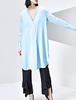 CHOCOLATONE Women's Casual/Daily Vintage Loose DressSolid Deep V Knee-length Long Sleeve Blue Polyester Fall Mid Rise Inelastic Medium