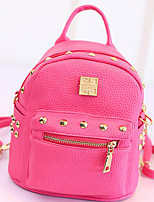 Women PU Casual Backpack White / Pink / Blue / Black / Fuchsia
