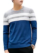 Herren Standard Pullover-Lässig/Alltäglich / Formal Einfach Solide Blau / Schwarz / Gelb Rundhalsausschnitt Langarm PolyesterHerbst /