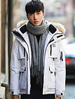 Men's Short Down Coat,Simple Casual/Daily Solid-Polyester White Duck Down Long Sleeve Hooded Blue / White / Black