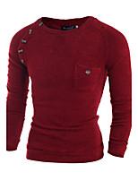 Herren Standard Pullover-Lässig/Alltäglich Einfach Solide Rot / Beige / Grau Rundhalsausschnitt Langarm Wolle Frühling / Herbst Mittel
