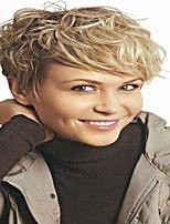estilo ondulado corto de color rubio pelucas sintéticas para mujeres
