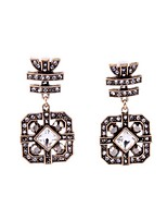 European Luxury Gem Geometric Earrrings Vintage Rhinestone Drop Earrings for Women Fashion Jewelry Best Gift