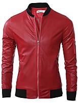 Мужчины На каждый день Однотонный Кожаные куртки Воротник-стойка,Простое Осень / Зима Красный / Черный / Зеленый Длинный рукав,