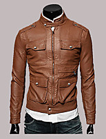 Brand Hight Quality Men's Casual/Daily Simple Leather JacketsSolid Stand Long Sleeve Fall / Winter Black / Brown Hot