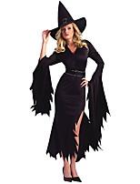 Cosplay Costumes  Wizard/Witch Halloween Black Print Cotton Dress / Headwear