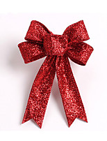 Sparkling Glitter Christmas Tree Bow Decoration 13Cm Cloth 5 Ears Orament Flowers Bow Knots For Home Party Wedding Decoration