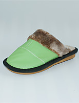 M.livelihood.H  Women's Slippers & Flip-Flops Winter Slingback Cowhide Casual Flat Heel Others Green  Others-YQ201607