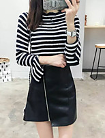 Women's Going out / Casual/Daily Simple Regular PulloverStriped Black Round Neck  Fall / Winter Medium Stretchy