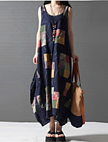 Women's Plus Size / Going out / Casual/Daily Vintage Loose / Shift Dress,Patchwork Round Neck Maxi Sleeveless Blue Linen Summer Mid Rise