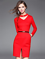 Women's Plus Size / Going out Simple Sheath Dress,Solid V Neck Above Knee Long Sleeve Red Polyester Fall Mid Rise Inelastic Medium