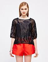Tee-shirt Femme,Couleur Pleine Sortie Sophistiqué Printemps Automne ½ Manches Col Arrondi Blanc Noir Rayonne Polyester Nylon Translucide