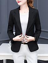 Blazer Femme,Couleur Pleine Décontracté / Quotidien simple Manches Longues Revers Cranté Blanc / Noir Polyester Moyen