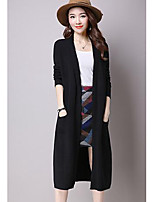 Women's Casual/Daily Simple Regular Cardigan,Solid Blue / Black V Neck Long Sleeve Others Fall / Winter Medium Micro-elastic