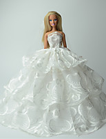Wedding Dresses For Barbie Doll White Print Dresses For Girl's Doll Toy
