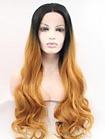 sylvia dentelle synthétique avant perruque racines noires chaleur de cheveux auburn perruques longs ondulés résistants synthétiques