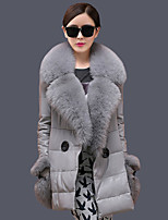 Women's Casual/Daily Sexy Fur CoatSolid Strapless Long Sleeve Winter Gray Faux Fur Thick