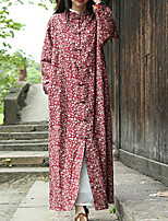 Cynthia Women's Casual/Daily Chinoiserie Trench CoatFloral Stand Long Sleeve Fall / Winter Red Cotton / Linen