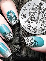 2016 neueste Version Mode-Muster Violine Blumennagelkunst Stamping Schablone Platten