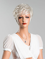 New Arrival Silver Short Wavy Capless Wigs High Quality Human Hair