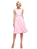 Lanting Bride® Knee-length Georgette Bridesmaid Dress - Elegant / Color Block A-line V-neck with Criss Cross