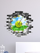 Modern/Contemporary Houses 3D Wall Clock Blue Sky And White Cloud  Indoor Clock