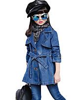 Menina de Terno & Blazer,Casual Cor Única Algodão Outono / Primavera Azul