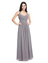 Lanting Bride® Longo Chiffon Elegante Vestido de Madrinha - Linha A Nadador com Drapeado Lateral / Cruzado