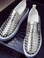 Серебристый / Золотистый-Женский-На каждый день-Кожа-На плоской подошве-Удобная обувь-Мокасины и Свитер