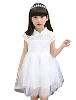 Girl's Going out Solid Dress,Cotton / Polyester Summer Pink / White