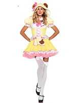 Cosplay Costumes Princess / Fairytale Halloween Pink / Yellow Print Cotton Dress / Headwear