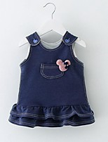 Baby Casual/Daily Solid Dress,Cotton Winter / Fall Blue / Pink