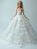 Wedding Dresses For Barbie Doll White Solid / Print Dresses For Girl's Doll Toy