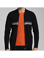 Men's Casual/Daily Simple Jackets,Solid Long Sleeve Fall Black Cotton