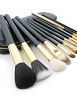 12 Makeup Brushes Set Goat Hair Professional / Portable Wood Handle Face/Eye/Lip Black