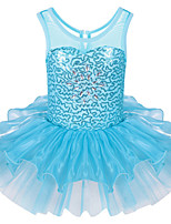 Sleeveless Toddler Girl's Bright Sequined Ballet Tutus Dresses with Ruffle Skirt Light Blue