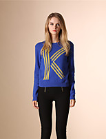 AOKNI Women's Round Neck Long Sleeve Sweater & Cardigan Blue / Royal Blue-5002