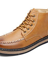 Men's Spring / Summer / Fall / Winter Round Toe Leather Casual Flat Heel Lace-up Black / Brown