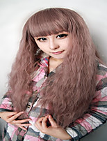 High Quality Cosplay Wig Synthetic Women 28 Inches Long Curly Light Brown Purple Fashion Princess Lolita Wig