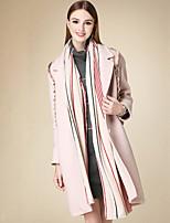 Женский На каждый день Однотонный Пальто Лацкан с тупым углом,Простое Зима Розовый Длинный рукав,Хлопок,Средняя