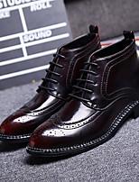 Черный / Бордовый-Мужской-На каждый день-КожаУдобная обувь-Ботинки