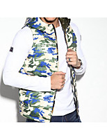 Men's Regular Down Coat,Simple Casual/Daily Camouflage-Polyester White Duck Down Sleeveless Hooded Green