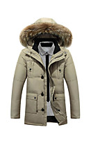 Men's Regular Down Coat,Simple Casual/Daily Solid-Polyester White Duck Down Long Sleeve Beige / Black