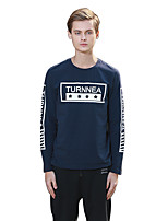Men's Print / Letter Casual / Sport T-ShirtCotton Long Sleeve-Blue / Gray