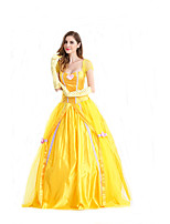 Cosplay Costumes Princess / Queen / Fairytale Movie Cosplay Yellow Solid Dress / Gloves Halloween / Carnival Female Polyester