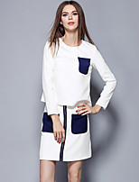 Women's Casual/Daily Street chic Skirt Suits,Print Round Neck Long Sleeve White Polyester