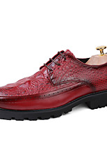 Men's Oxfords Spring Fall Creepers Formal Shoes Comfort Leather Wedding Office & Career Party & Evening Casual Ruffles Lace-up