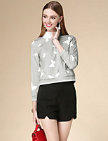 DOF Women's Casual/Daily Simple Fall T-shirtAnimal Print Round Neck Long Sleeve Gray Cotton Medium