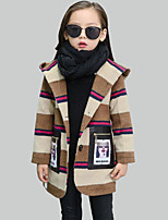 Girl's Casual/Daily Striped / Patchwork Suit & Blazer,Rayon Winter Brown / Red / Gray