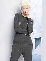 DL.FANG Women's Going out / Casual/Daily Simple Regular HoodiesEmbroidered Gray Round Neck Long Sleeve Polyester Winter